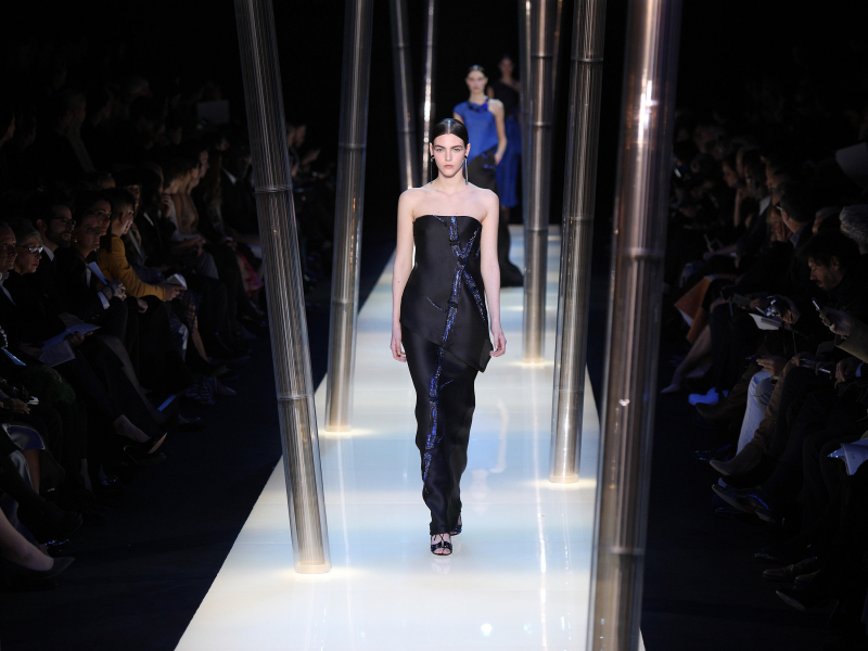 Giorgio Armani leaves High Fashion Week
